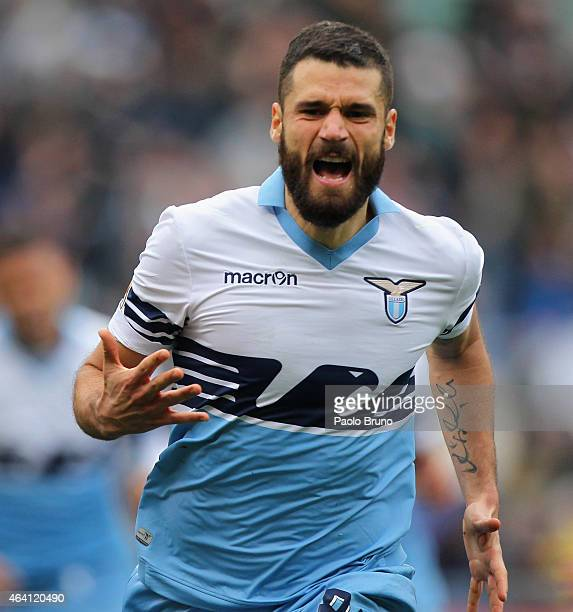 Antonio Candreva of SS Lazio celebrates after scoring the second team's goal during the Serie A match between SS Lazio and US Citta di Palermo at...