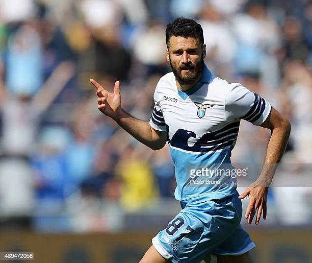 Antonio Candreva of SS Lazio celebrates after scoring the team's third goal during the Serie A match between SS Lazio and Empoli FC at Stadio...