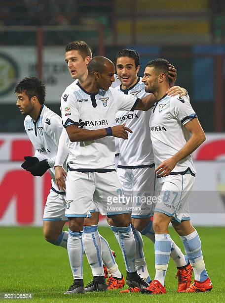 Antonio Candreva of SS Lazio celebrates with his teammates after scoring the opening goal during the Serie A match between FC Internazionale Milano...
