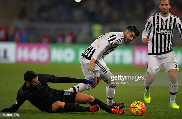 Antonio Candreva of SS Lazio competes for the ball with Alvaro Morata of Juventus FC during the TIM Cup match between SS Lazio and Juventus FC at...