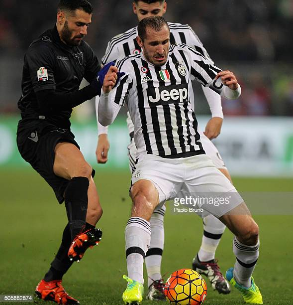 Antonio Candreva of SS Lazio competes for the ball with Giorgio Chiellini of Juventus FC during the TIM Cup match between SS Lazio and Juventus FC at...