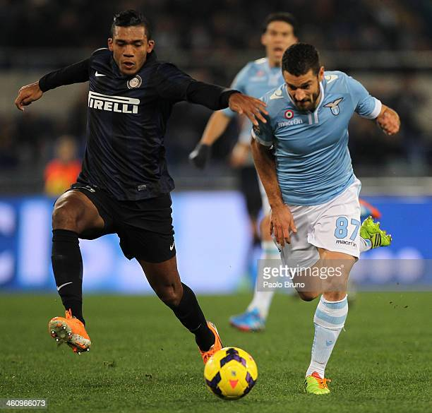 Antonio Candreva of SS Lazio competes for the ball with Jan Jesus of FC Internazionale Milano during the Serie A match between SS Lazio and FC...