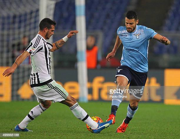 Antonio Candreva of SS Lazio competes for the ball with Stefano Sturaro of Juventus FC during the Serie A match between SS Lazio and Juventus FC at...
