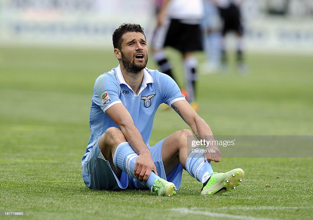 <a gi-track='captionPersonalityLinkClicked' href=/galleries/search?phrase=Antonio+Candreva&family=editorial&specificpeople=4063716 ng-click='$event.stopPropagation()'>Antonio Candreva</a> of S.S. Lazio dejected during the Serie A match between Parma FC and S.S. Lazio at Stadio Ennio Tardini on April 28, 2013 in Parma, Italy.
