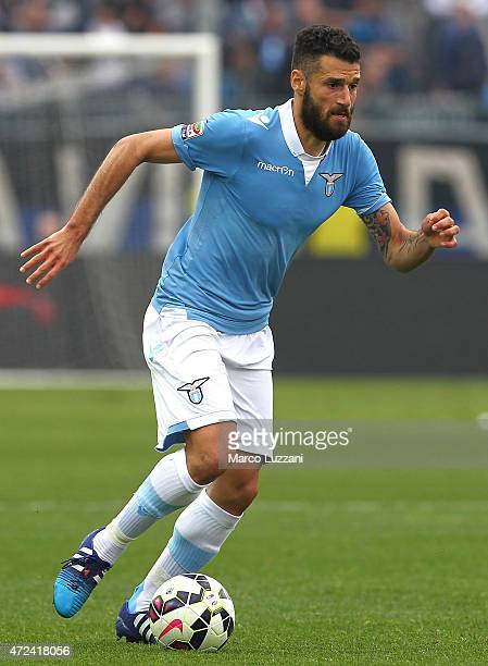 Antonio Candreva of SS Lazio in action during the Serie A match between Atalanta BC and SS Lazio at Stadio Atleti Azzurri d'Italia on May 3 2015 in...