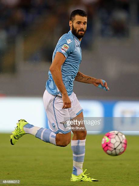 Antonio Candreva of SS Lazio in action during the Serie A match between SS Lazio and Bologna FC at Stadio Olimpico on August 22 2015 in Rome Italy