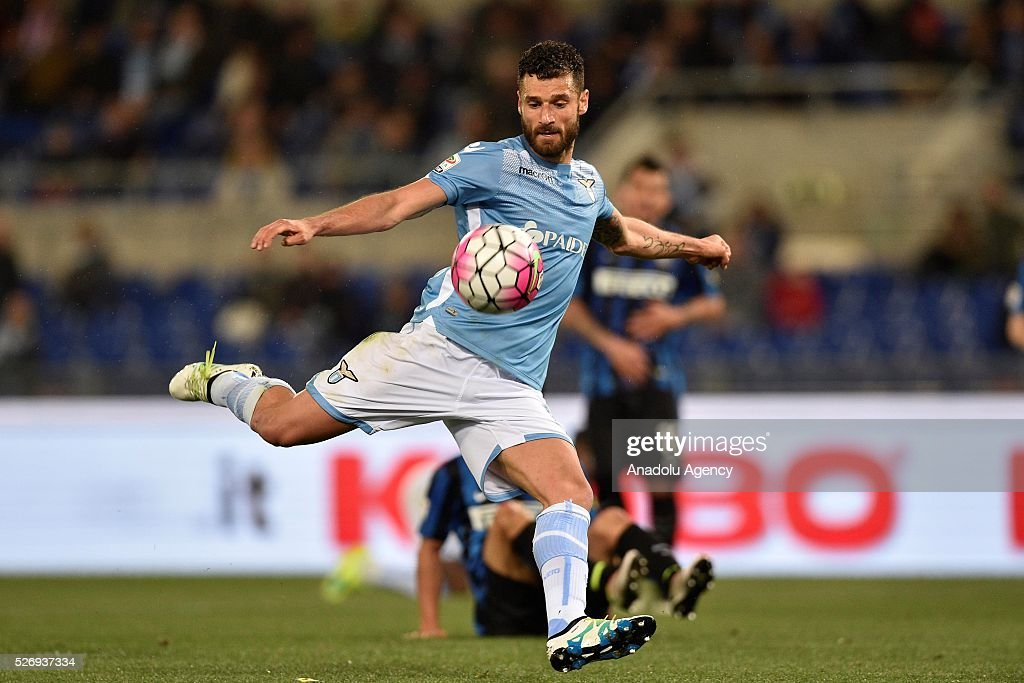 Antonio Candreva of SS Lazio in action during the Serie A match between SS Lazio and FC Internazionale Milano at Stadio Olimpico on May 1, 2016 in Rome, Italy.