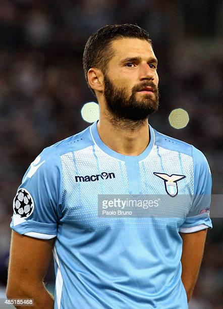 Antonio Candreva of SS Lazio looks on during the UEFA Champions League qualifying round play off first leg match between SS Lazio and Bayer...
