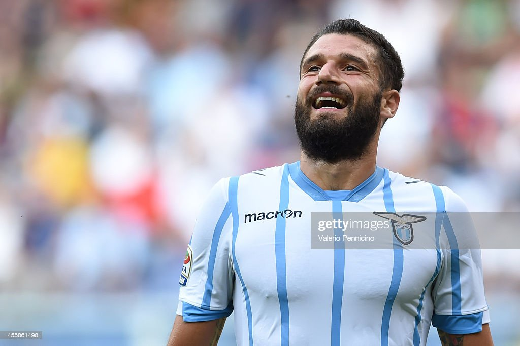 <a gi-track='captionPersonalityLinkClicked' href=/galleries/search?phrase=Antonio+Candreva&family=editorial&specificpeople=4063716 ng-click='$event.stopPropagation()'>Antonio Candreva</a> of SS Lazio reacts during the Serie A match between Genoa CFC and SS Lazio at Stadio Stadio Luigi Ferraris di Genoa on September 21, 2014 in Genoa, Italy.