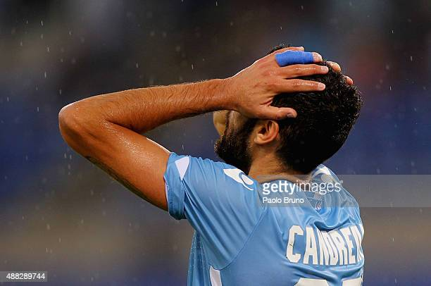 Antonio Candreva of SS Lazio reacts during the Serie A match between SS Lazio and Udinese Calcio at Stadio Olimpico on September 13 2015 in Rome Italy