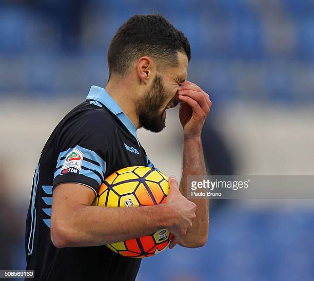 Antonio Candreva of SS Lazio reacts during the Serie A match between SS Lazio and AC Chievo Verona at Stadio Olimpico on January 24 2016 in Rome Italy