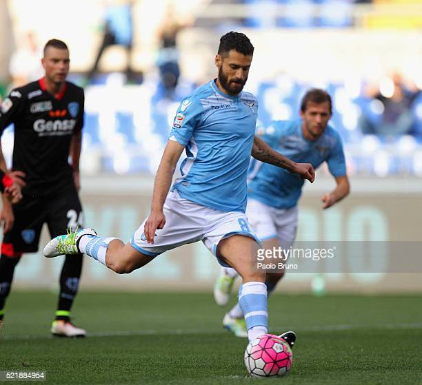 Antonio Candreva of SS Lazio scores the opening goal from penalty spot during the Serie A match between SS Lazio and Empoli FC at Stadio Olimpico on...