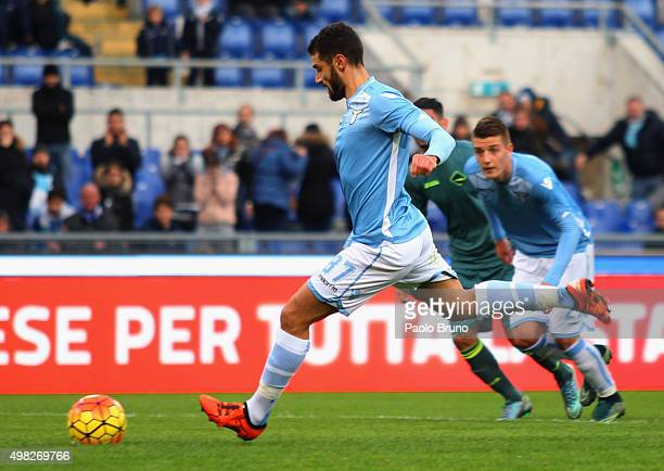 Antonio Candreva of SS Lazio scores the team's first goal from penalty spot during the Serie A match between SS Lazio and US Citta di Palermo at...