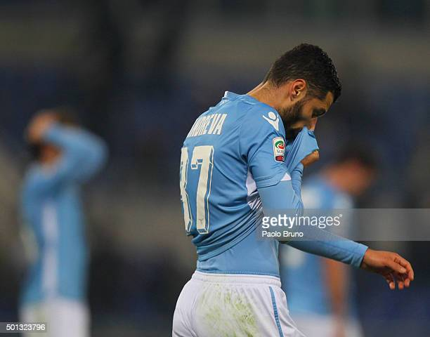 Antonio Candreva of SS Lazio shows his dejection after the Serie A match betweeen SS Lazio and UC Sampdoria at Stadio Olimpico on December 14 2015 in...