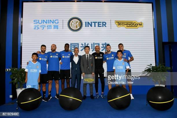 Antonio Candreva Tommaso Berni Geoffrey Kondogbia Technogym Managing Director Cristian Ferrarese FC Internazionale Milano board member Steven Zhang...