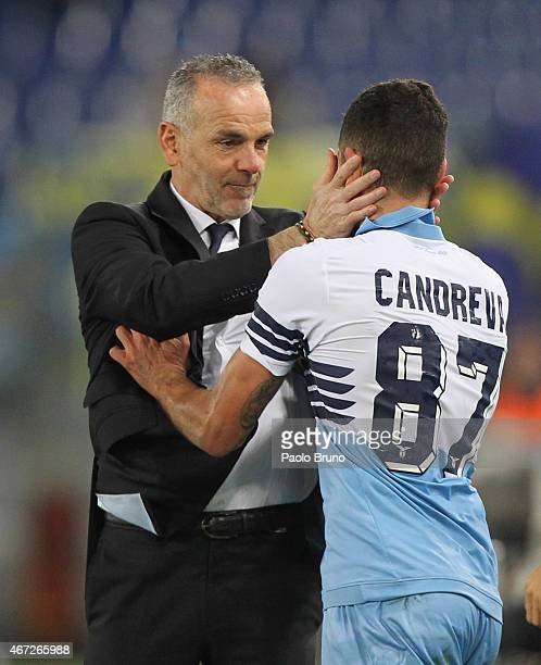 Antonio Candreva with his head coach Stefano Pioli of SS Lazio celebrates after scoring the second team's goal during the Serie A match between SS...