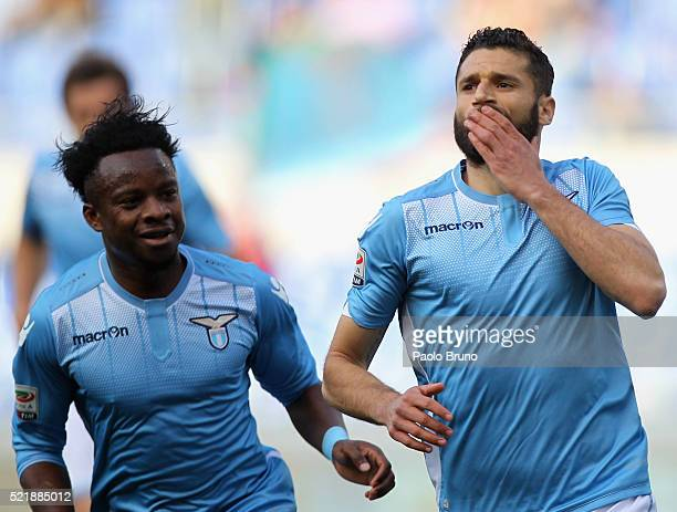 Antonio Candreva with his teammate Eddy Onazi of SS Lazio celebrates after scoring the opening goal from penalty spot during the Serie A match...