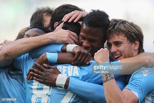 Antonio Candreva with his teammates Eddy Onazi and Diao Keita Balde and Gil Patricio Gabarron of SS Lazio celebrates after scoring the opening goal...