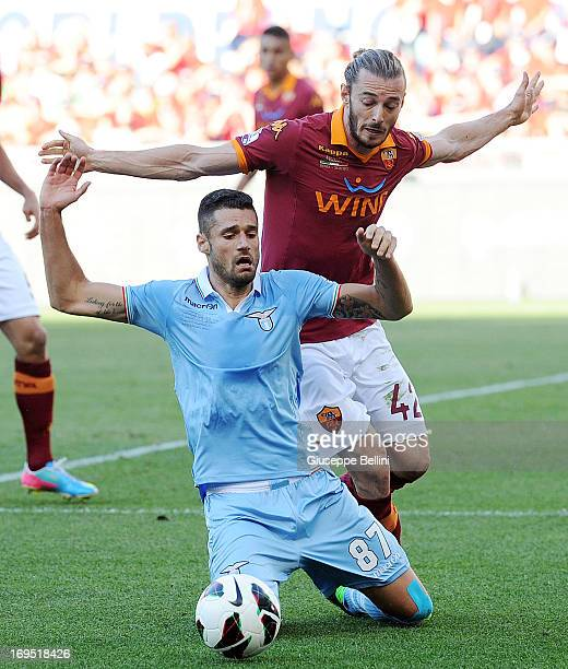 Antonio Candrva of Lazio and Federico Balzaretti of Roma in action during the TIM cup final match between AS Roma v SS Lazio at Stadio Olimpico on...