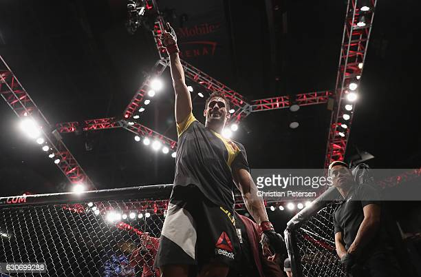 Antonio Carlos Junior of Brazil exits the Octagon after defeating Marvin Vettori of Italy in their middleweight bout during the UFC 207 event on...