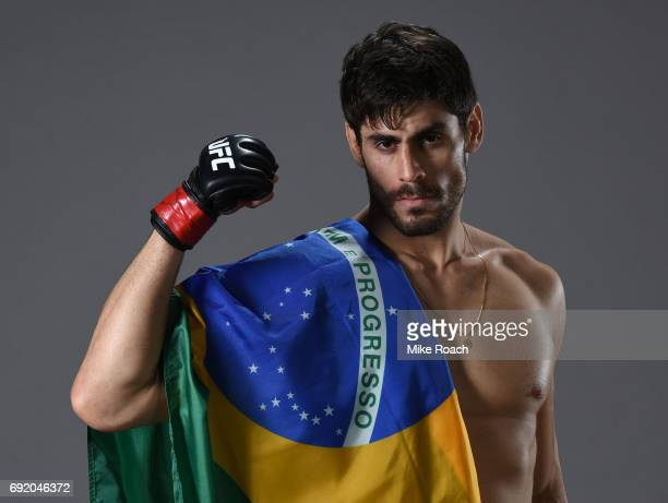 Antonio Carlos Junior of Brazil poses for a portrait backstage after his victory over Eric Spicely during the UFC 212 event at Jeunesse Arena on June...