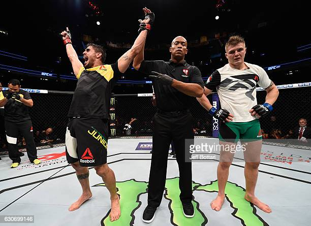 Antonio Carlos Junior of Brazil reacts to his victory over Marvin Vettori of Italy in their middleweight bout during the UFC 207 event at TMobile...