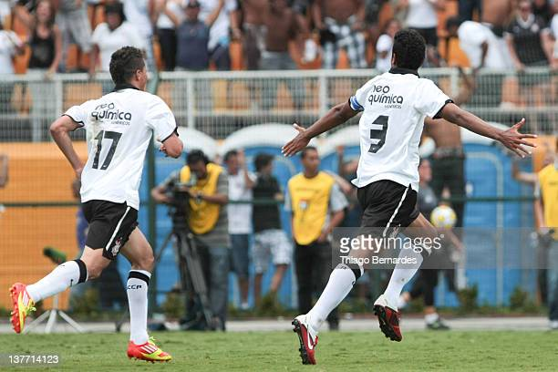 Antonio Carlos of Corinthians celebrates a goal during the final match of the Copa de Juniores 2012 at the Pacaembu stadium on January 25 2012 in Sao...