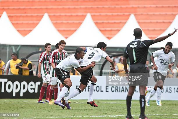 Antonio Carlos of Corinthians celebrates during the final match of the Copa de Juniores 2012 at the Pacaembu stadium on January 25 2012 in Sao Paulo...