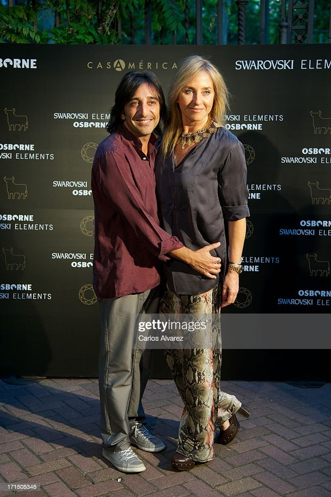 Antonio Carmona and wife Mariola Orellana attend Swarovski-Osborne Bull illumination at the Casa America on June 25, 2013 in Madrid, Spain.