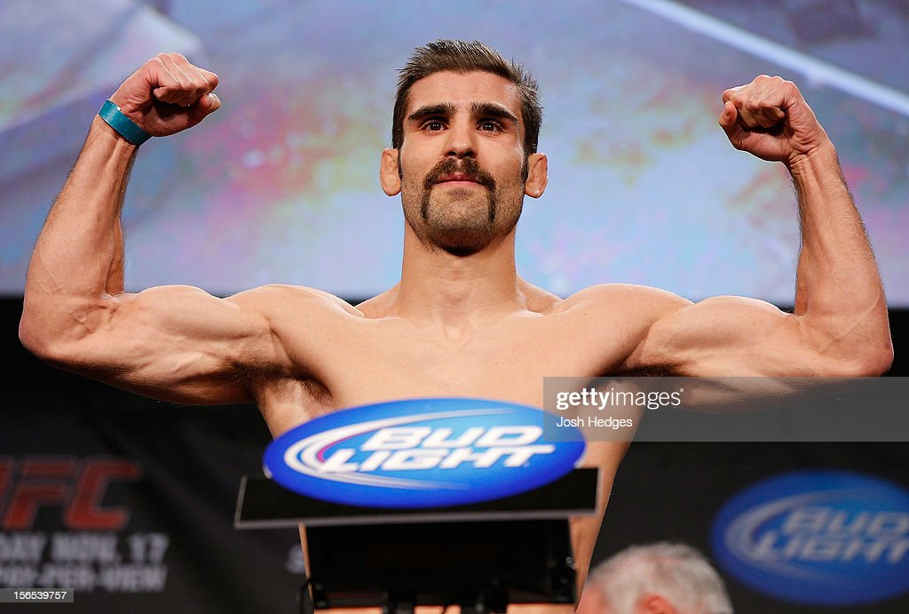 <a gi-track='captionPersonalityLinkClicked' href=/galleries/search?phrase=Antonio+Carvalho&family=editorial&specificpeople=2261814 ng-click='$event.stopPropagation()'>Antonio Carvalho</a> weighs in during the official UFC 154 weigh in at New City Gas on November 16, 2012 in Montreal, Quebec, Canada.
