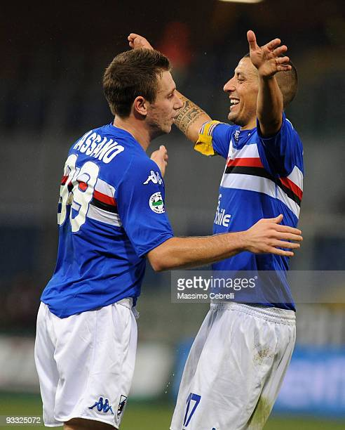 Antonio Cassano and Angelo Palombo of UC Sampdoria celebrate second goal scored by Giampaolo Pazzini during the Serie A match between UC Sampdoria...