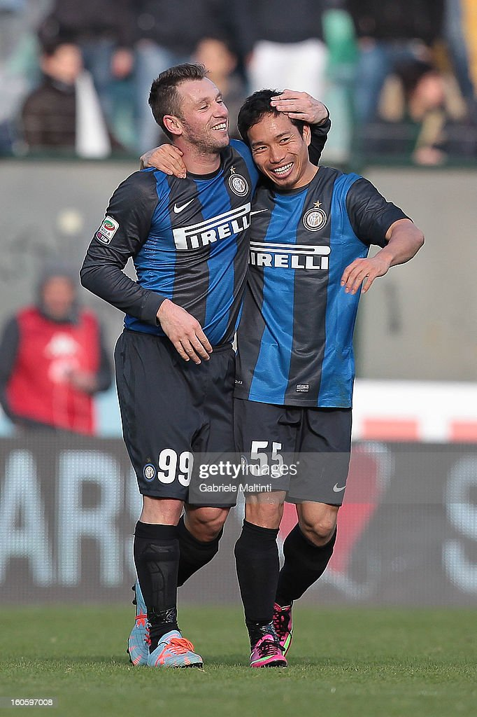 <a gi-track='captionPersonalityLinkClicked' href=/galleries/search?phrase=Antonio+Cassano&family=editorial&specificpeople=214558 ng-click='$event.stopPropagation()'>Antonio Cassano</a> #99 and <a gi-track='captionPersonalityLinkClicked' href=/galleries/search?phrase=Yuto+Nagatomo&family=editorial&specificpeople=4320811 ng-click='$event.stopPropagation()'>Yuto Nagatomo</a> of FC Internazionale Milano celebrate after scoring a goal during the Serie A match between AC Siena and FC Internazionale Milano at Stadio Artemio Franchi on February 3, 2013 in Siena, Italy.