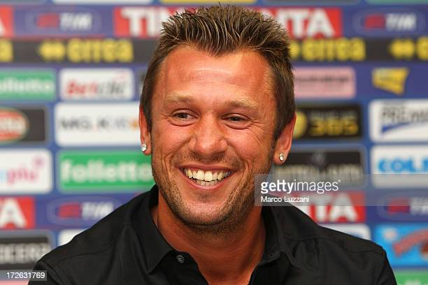 Antonio Cassano is presented as a new signing to Parma FC during a press conference at Stadio Ennio Tardini on July 4 2013 in Parma Italy