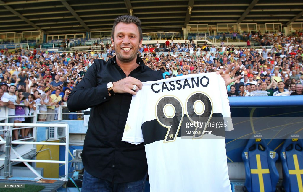 Antonio Cassano is presented as the new signing to Parma FC at Stadio Ennio Tardini on July 4 2013 in Parma Italy