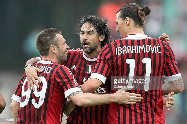 Antonio Cassano Mario Yepes and Zlatan Ibrahimovic of AC Milan celebrates after scoring a goal during the Serie A match between AC Siena and AC Milan...
