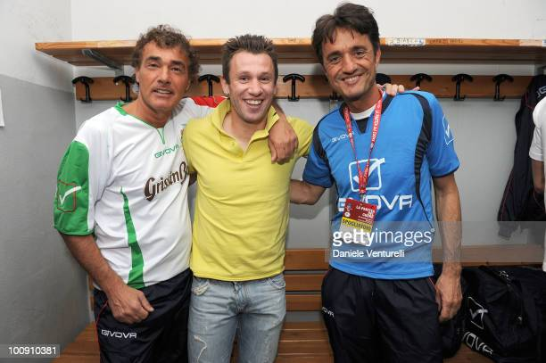 ACCESS** Antonio Cassano Massimo Giletti and Giulio Base attend the XIX Partita Del Cuore charity football game at on May 25 2010 in Modena Italy