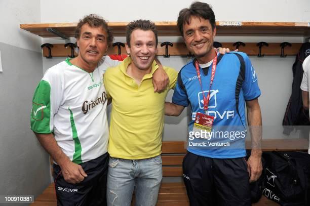ACCESS** Antonio Cassano Massimo Giletti and Giulio Base attend the XIX Partita Del Cuore charity football game at on May 25 2010 in Modena Italy