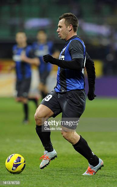 Antonio Cassano of FC Inter during the Serie A match between FC Internazionale Milano and AC Chievo Verona at San Siro Stadium on February 10 2013 in...