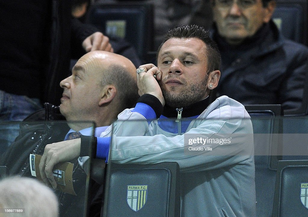 <a gi-track='captionPersonalityLinkClicked' href=/galleries/search?phrase=Antonio+Cassano&family=editorial&specificpeople=214558 ng-click='$event.stopPropagation()'>Antonio Cassano</a> of FC Inter Milan attends the Serie A match between Parma FC and FC Internazionale Milano at Stadio Ennio Tardini on November 26, 2012 in Parma, Italy.