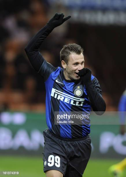 Antonio Cassano of FC Inter Milan celebrates after scoring the opening goal of the Serie A match between FC Internazionale Milano and AC Chievo...