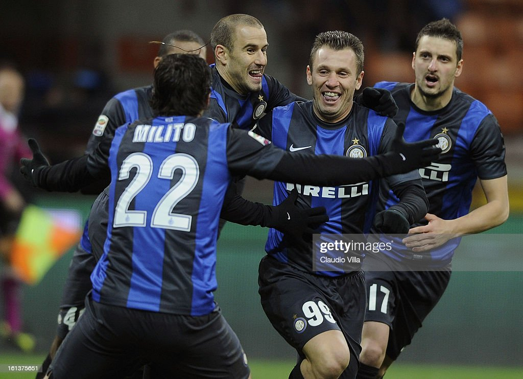 <a gi-track='captionPersonalityLinkClicked' href=/galleries/search?phrase=Antonio+Cassano&family=editorial&specificpeople=214558 ng-click='$event.stopPropagation()'>Antonio Cassano</a> (2nd R) of FC Inter Milan celebrates with team-mates after scoring the opening goal of the Serie A match between FC Internazionale Milano and AC Chievo Verona at San Siro Stadium on February 10, 2013 in Milan, Italy.