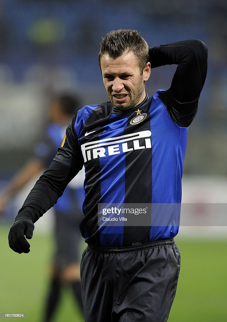 <a gi-track='captionPersonalityLinkClicked' href=/galleries/search?phrase=Antonio+Cassano&family=editorial&specificpeople=214558 ng-click='$event.stopPropagation()'>Antonio Cassano</a> of FC Inter Milan during the UEFA Europa League round of 32 first leg match between FC Internazionale Milano and CFR 1907 Cluj at San Siro Stadium on February 14, 2013 in Milan, Italy.
