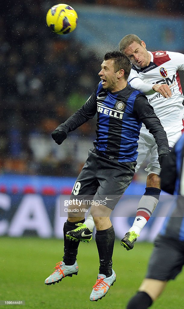 Antonio Cassano of FC Inter Milan (#19) jumps for a header during the TIM cup match between FC Internazionale Milano and Bologna FC at Stadio Giuseppe Meazza on January 15, 2013 in Milan, Italy.