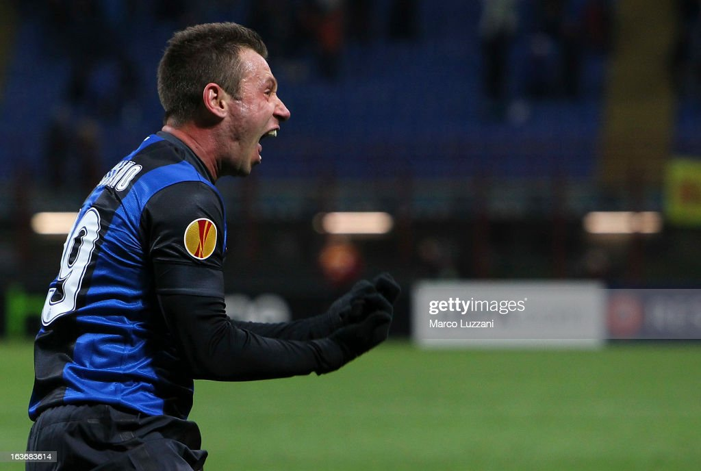 <a gi-track='captionPersonalityLinkClicked' href=/galleries/search?phrase=Antonio+Cassano&family=editorial&specificpeople=214558 ng-click='$event.stopPropagation()'>Antonio Cassano</a> of FC Internazionale celebrates the second goal during the UEFA Europa League Round of 16 Second Leg match between FC Internazionale Milano and Tottenham Hotspur at San Siro Stadium on March 14, 2013 in Milan, Italy.