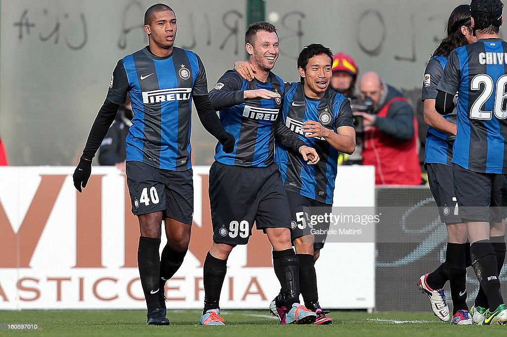Antonio Cassano #99 of FC Internazionale Milano celebrates with team mates after scoring a goal during the Serie A match between AC Siena and FC Internazionale Milano at Stadio Artemio Franchi on February 3, 2013 in Siena, Italy.