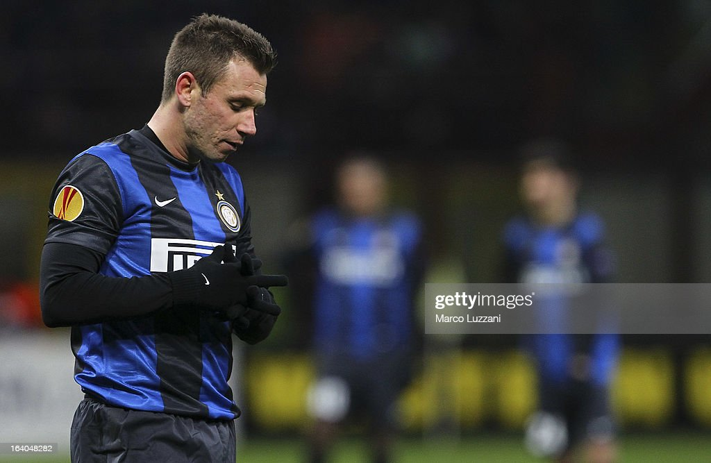<a gi-track='captionPersonalityLinkClicked' href=/galleries/search?phrase=Antonio+Cassano&family=editorial&specificpeople=214558 ng-click='$event.stopPropagation()'>Antonio Cassano</a> of FC Internazionale Milano looks dejection during the UEFA Europa League Round of 16 Second Leg match between FC Internazionale Milano and Tottenham Hotspur at San Siro Stadium on March 14, 2013 in Milan, Italy.