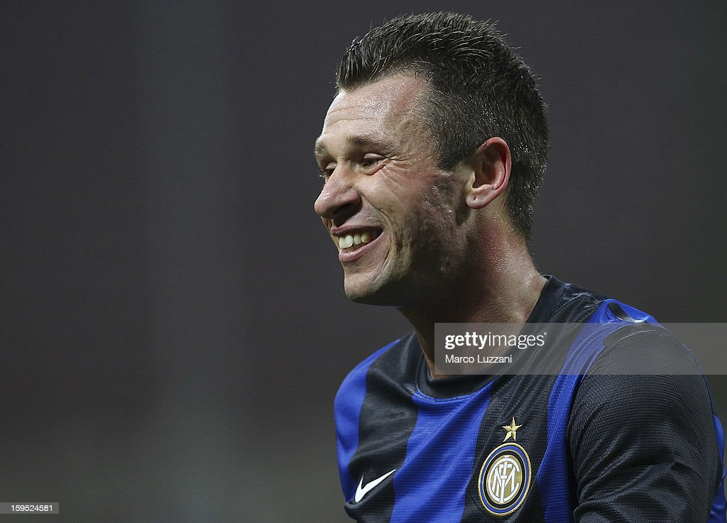 <a gi-track='captionPersonalityLinkClicked' href=/galleries/search?phrase=Antonio+Cassano&family=editorial&specificpeople=214558 ng-click='$event.stopPropagation()'>Antonio Cassano</a> of FC Internazionale Milano looks on during the Serie A match between FC Internazionale Milano and Pescara at San Siro Stadium on January 12, 2013 in Milan, Italy.