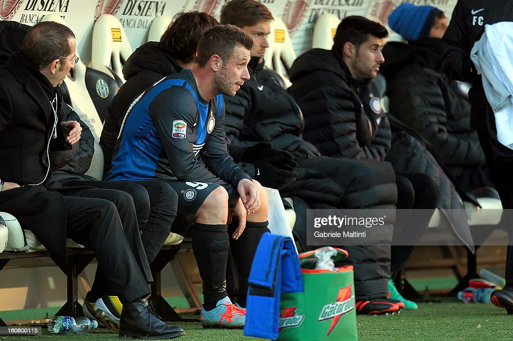<a gi-track='captionPersonalityLinkClicked' href=/galleries/search?phrase=Antonio+Cassano&family=editorial&specificpeople=214558 ng-click='$event.stopPropagation()'>Antonio Cassano</a> of FC Internazionale Milano looks on from the bench during the Serie A match between AC Siena and FC Internazionale Milano at Stadio Artemio Franchi on February 3, 2013 in Siena, Italy.