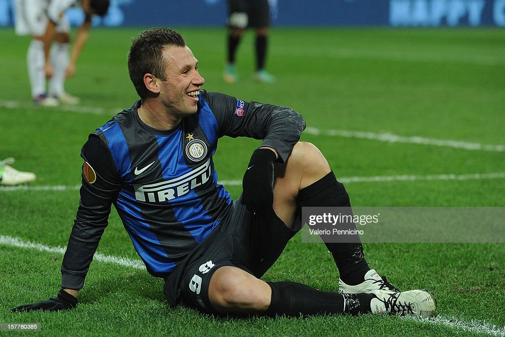 Antonio Cassano of FC Internazionale Milano reacts during the UEFA Europa League group H match between FC Internazionale Milano and Neftci PFK on December 6, 2012 in Milan, Italy.