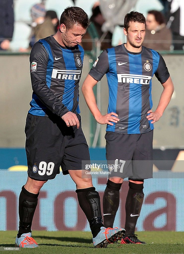 <a gi-track='captionPersonalityLinkClicked' href=/galleries/search?phrase=Antonio+Cassano&family=editorial&specificpeople=214558 ng-click='$event.stopPropagation()'>Antonio Cassano</a> of FC Internazionale Milano shows his dejection during the Serie A match between AC Siena and FC Internazionale Milano at Stadio Artemio Franchi on February 3, 2013 in Siena, Italy.